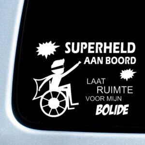 Autosticker 'Superheld aan boord' – bliksem – 20x27cm