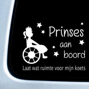Autosticker 'Prinses aan boord' – sterren – 20x27cm